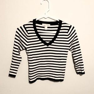 Black and white striped cropped sweater